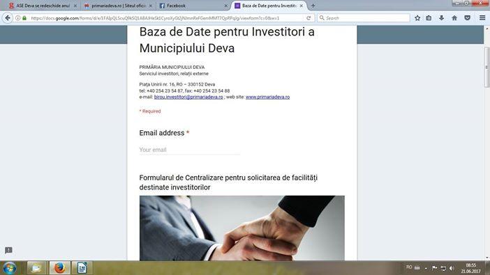 Bază de date pentru investitori, lansată de Primăria Deva