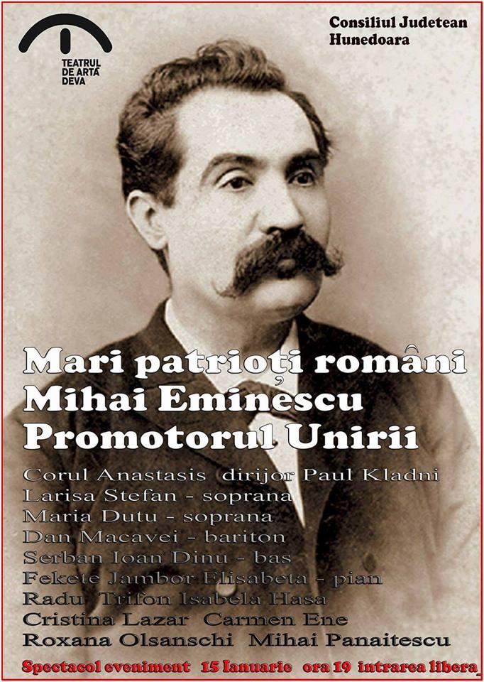 Spectacol dedicat lui Mihai Eminescu, la Teatrul de Artă Deva