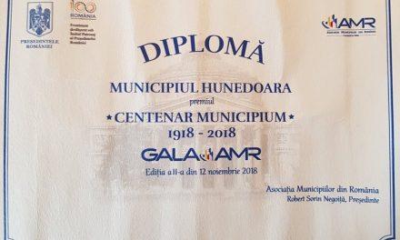 Hunedoara, premiată pentru activitatea în An Centenar